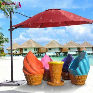 میز و صندلی بستنی قیفی بزرگ تمام رنگی