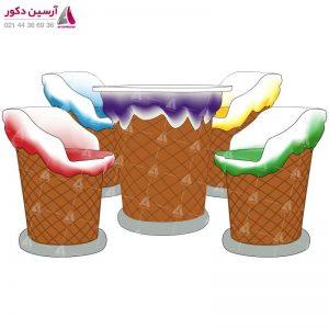 میز و صندلی بستنی قیفی کوچک رنگی